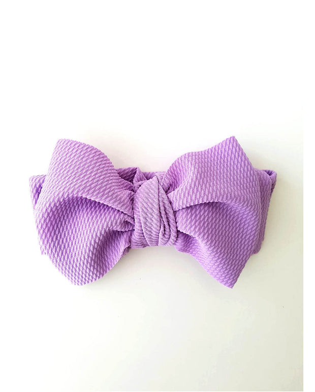Girls Dusty Lilac Oversized Bow Headband (Stretched Headwrap)