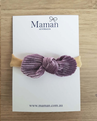 Girls Lilac Velvet Mini Bow Headband (Newborn-4 Yrs)