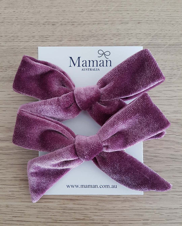 Set of 2 Handmade Mauve Velvet Girl Hair Clips