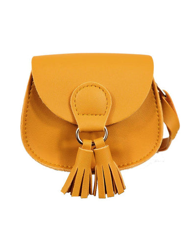 Girls Mini Marcie Mustard Tassel PU Leather Cross Body and Shoulder Bag