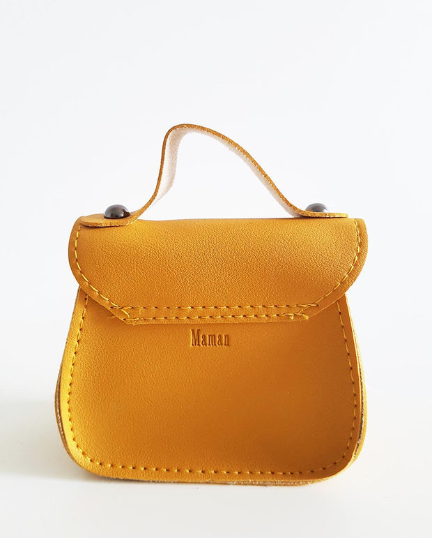 Girls Mini Mindy Mustard Bow PU Leather Cross Body and Shoulder Bag