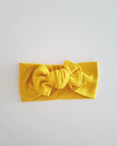 Girls Mustard Soft Rib Knit Topknot Headband (Stretched Headwrap) (NB-5 Yrs)