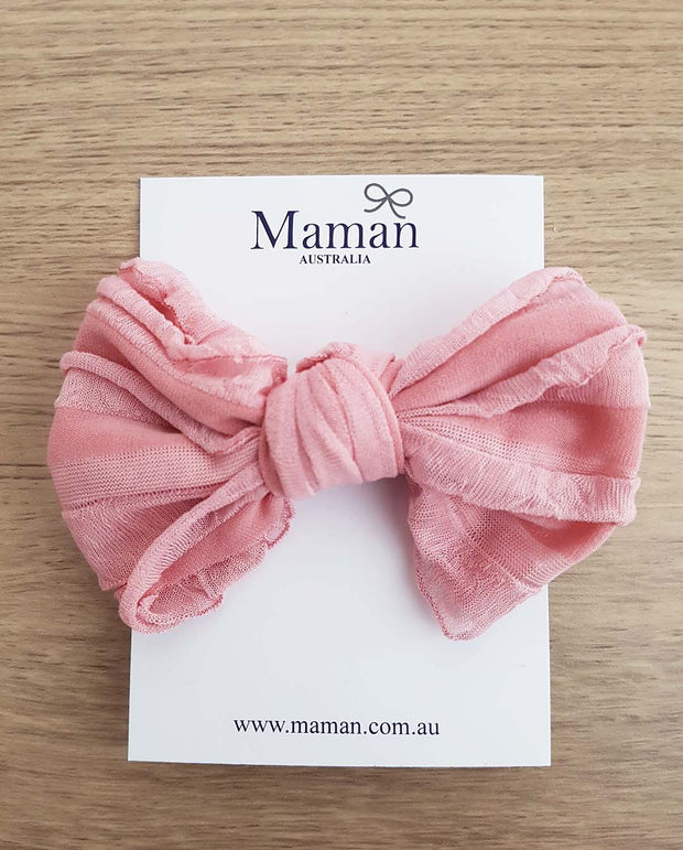Girls Soft Nylon Nude Pink Bow Headband (Newborn-4 Yrs)