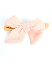 Girls Peach Muslin Bow Stretch Headband