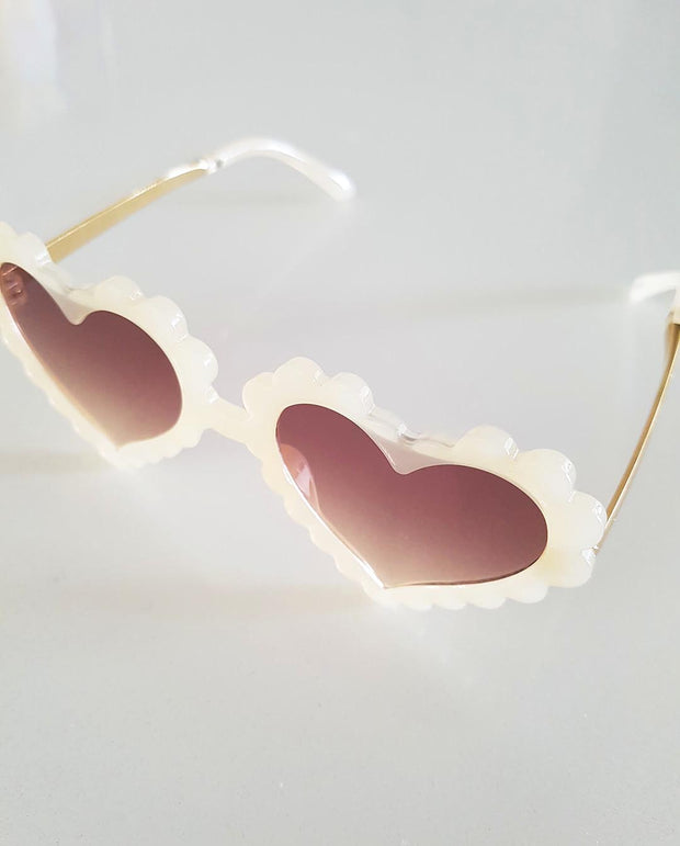 The Eyes of Pearlie : Heart Creamy White Frame Light Brown Lens Sunglasses (1-8Yrs)