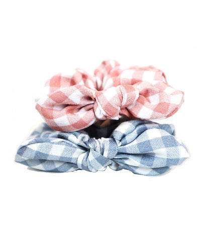 Set of 2 Pastel Pink and Blue Gingham Hair Ties Scrunchies
