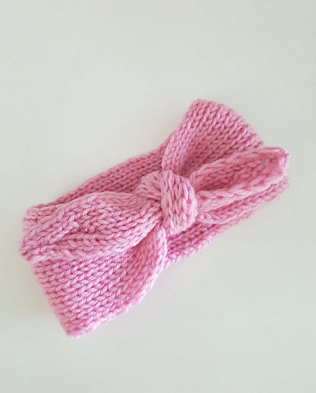 Girls Hand Knitted Pink Topknot Bow Headwrap (NB-4 Yrs)