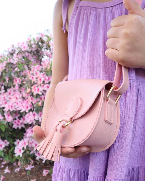 Girls Mini Marcie Pink Tassel PU Leather Cross Body and Shoulder Bag