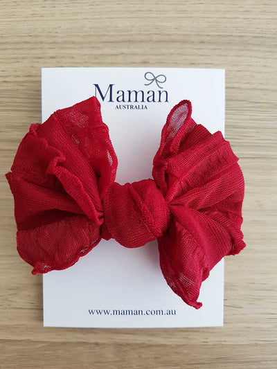 Girls Soft Nylon Red Bow Headband (Newborn-4 Yrs)