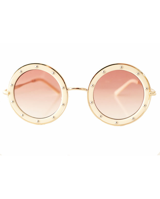 The Eyes of Claire : Studded Pattern Cream Frame Gradient Lenses Sunglasses