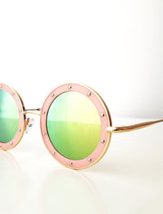 The Eyes of Claire : Studded Pattern Pink Frame Mirrored Lenses Sunglasses