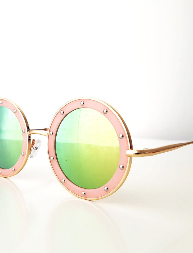 The Eyes of Claire : Studded Pattern Pink Frame Mirrored Lens Sunglasses (1-8Yrs)