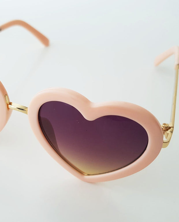 The Eyes of Rosie : Soft Peach Heart Frame Brown Gradient Lens Sunglasses (1-8Yrs)