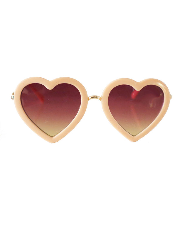 The Eyes of Rosie : Soft Peach Heart Frame Brown Gradient Lenses Sunglasses