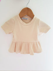Baby Girls Beige Ribbed Cotton Jersey Peplum Top (3-6m to 3T)