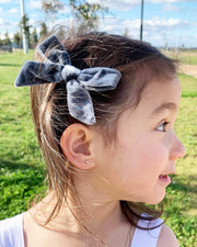 Set of 2 Handmade Grey Velvet Girl Hair Clips