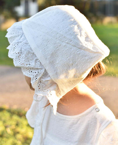 Baby Girls Lily White Embroidered Cotton Bonnet
