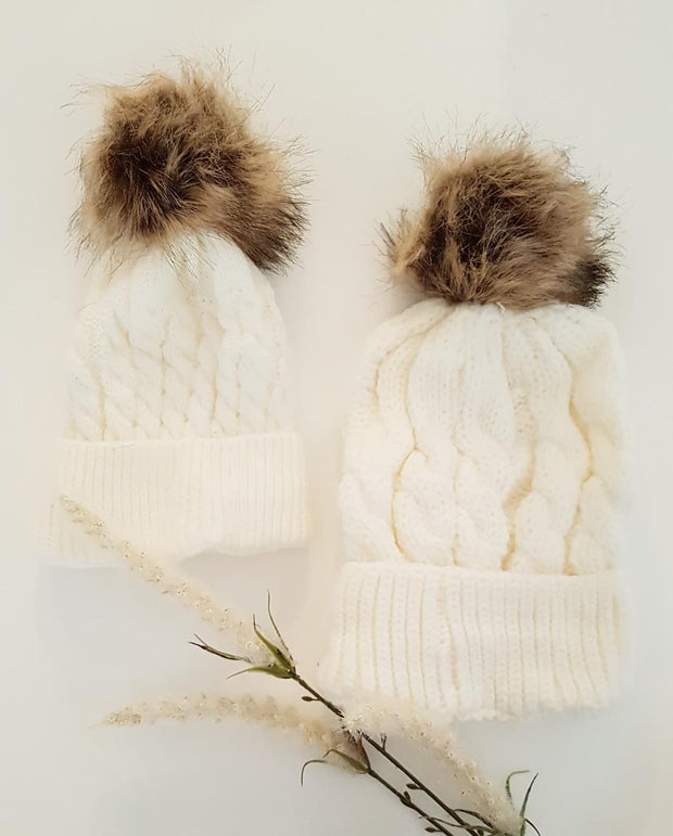 MATCHING Mums and Girls White Pom Pom Knit Beanie Winter Hat