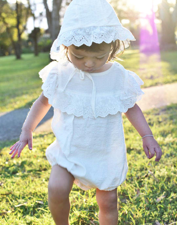 Baby Girls Lily White Embroidered Cotton Romper