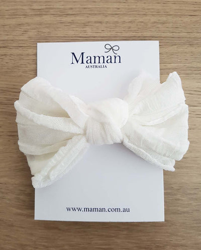 Girls Soft Nylon White Bow Headband (Newborn-4 Yrs)