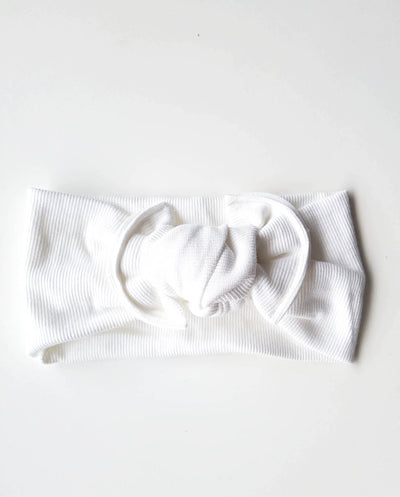 Girls White Soft Rib Knit Topknot Headband (Stretched Headwrap) (NB-5 Yrs)