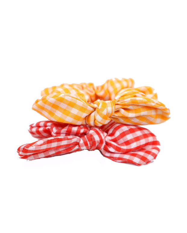 Set of 2 Red and Yellow Gingham Hair Ties Scrunchies