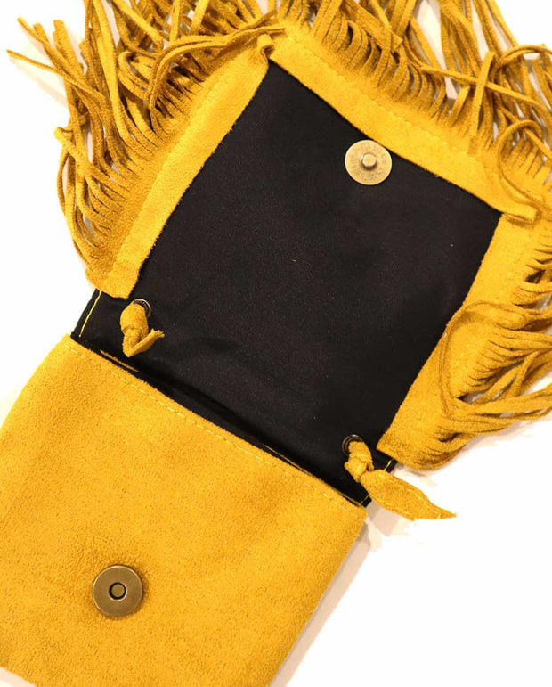 Girls Mini Bohemian Mustard Tassel Suede Cross Body and Shoulder Bag