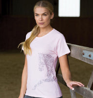equestrian theme t-shirt, with Lace Horse Motif