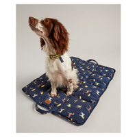 spaniel sitting on a dog print travel mat