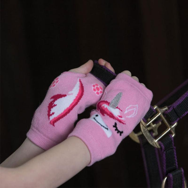 EQUETECH CHILDS UNICORN FINGERLESS GLOVES