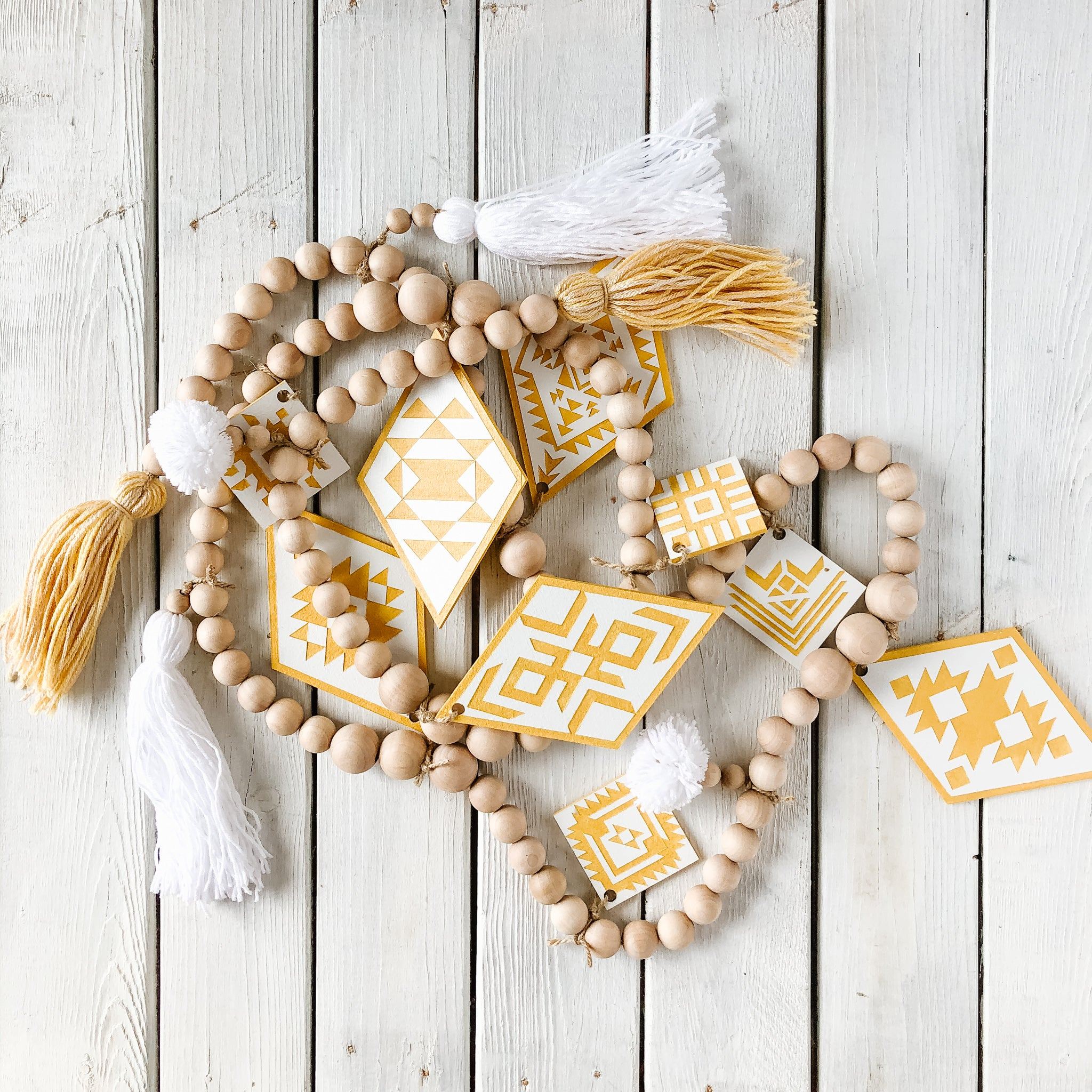 Aztec Yellow Diamond White Beaded Garland