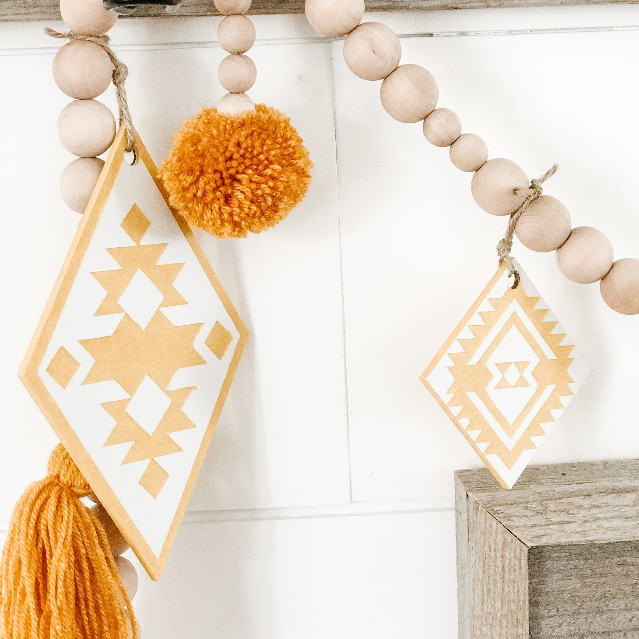Aztec Mustard Diamond White Beaded Garland