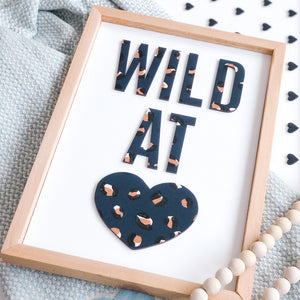 Wild at Heart Navy/Gold Leopard Print Sign
