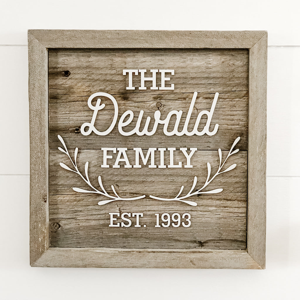 Family Name Little Branches Sign