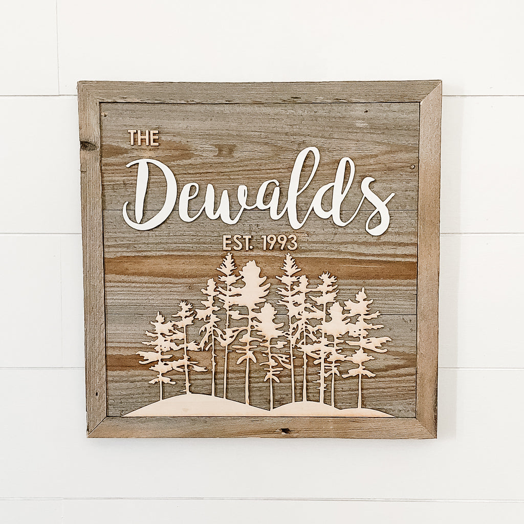 Family Name Square Mountain Sign
