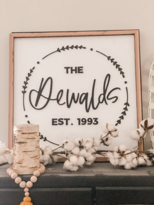 Family Name Wreath Sign