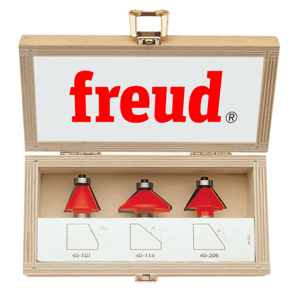 Freud Router Bit Set - 3 PIECE CHAMFER BIT SET