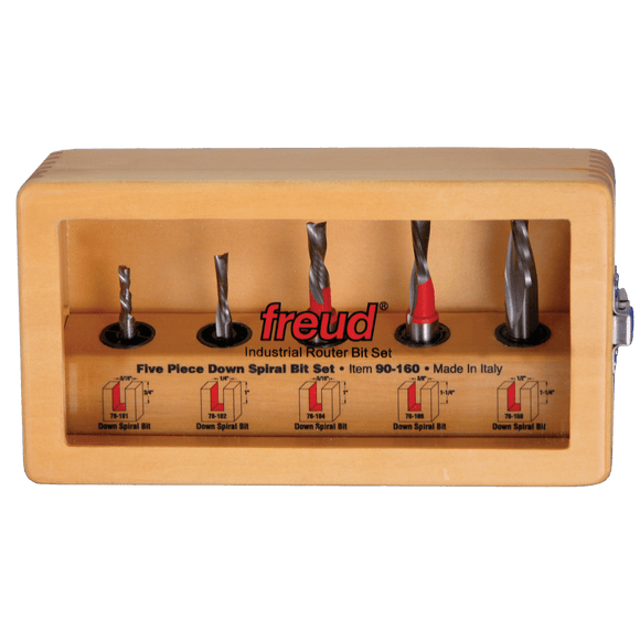 Freud Router Bit Set - 5 PIECE DOWNCUT SPIRAL BIT SET