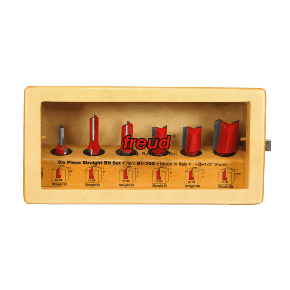 Freud Router Bit Set - 6 Piece Straight Bit Set