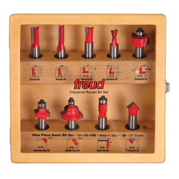 Freud Router Bit Set - 9 PIECE BASIC BIT SET