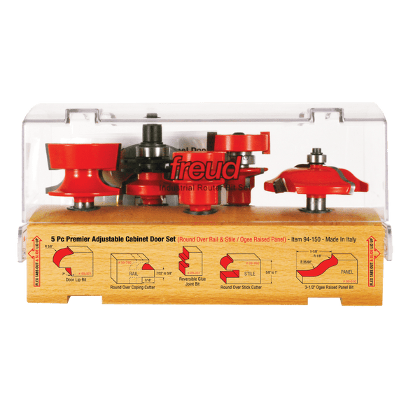 Freud Router Bit Set : 5 Piece Premier Adjustable Cabinet Bit Set
