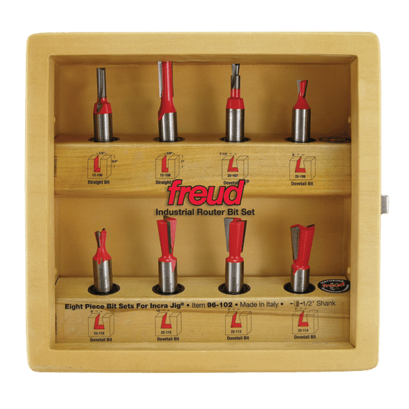 Freud Router Bit Set -8 Piece Bit Sets for Incra Jig®