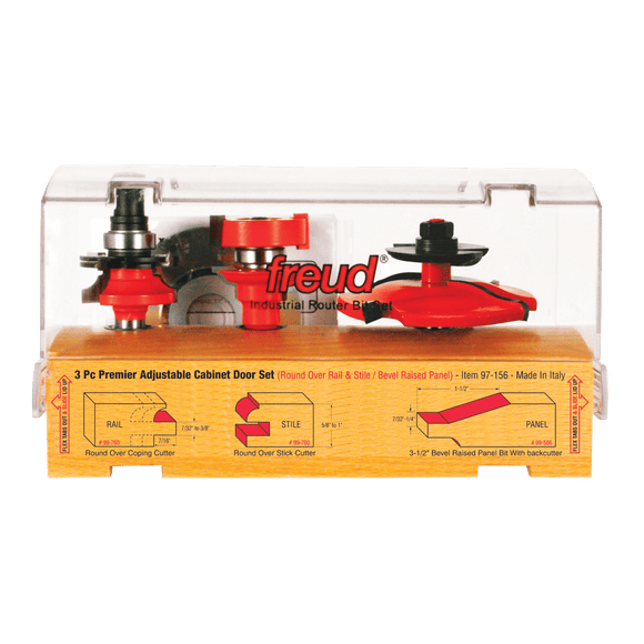 Freud Router Bit Set :   3 Piece Premier Adjustable Cabinet Bit Set
