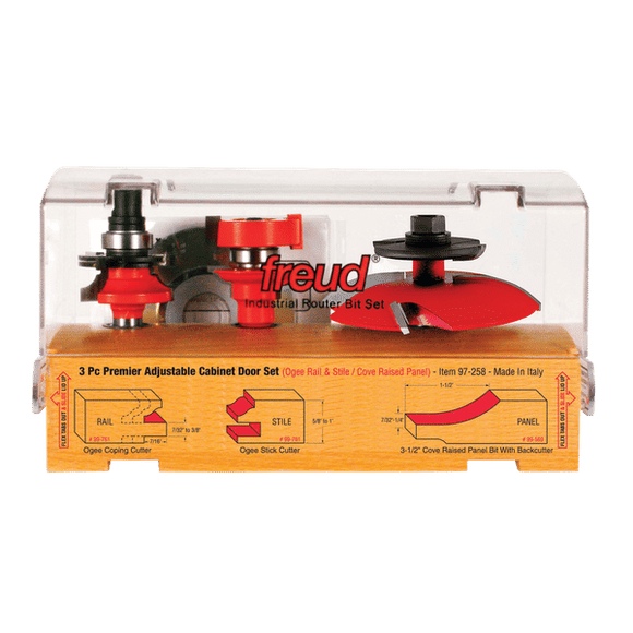 Freud Router Bit Set:3 Piece Premier Adjustable Cabinet Bit Set