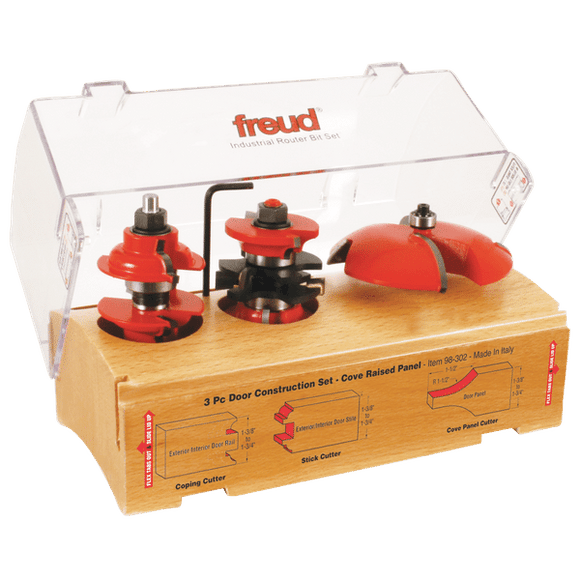 Freud Router Bit Set : 3 Piece Door Construction Bit Set