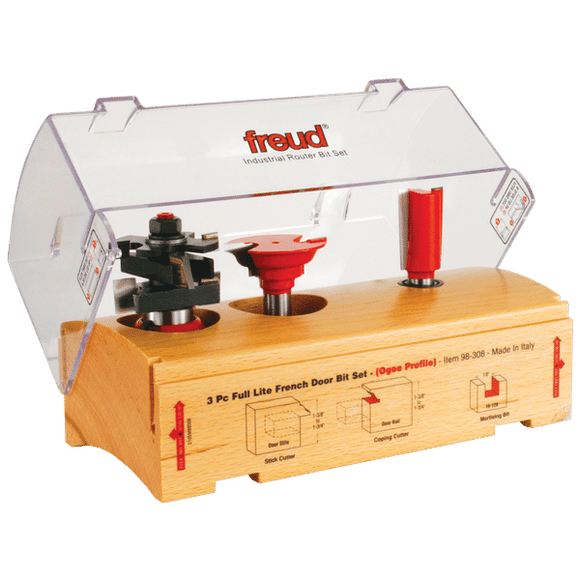 Freud Router Bit Set -  3 Piece French Door Bit Set