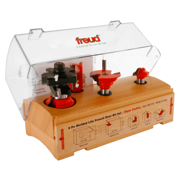 Freud Router Bit Set -5 Piece French Door Bit Set