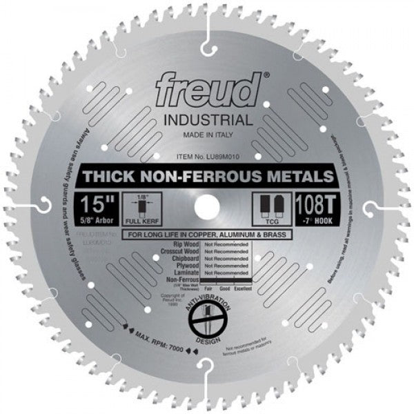 LU89M015 Freud Thick Stock Non-Ferrous Metal Cutting Saw Blade