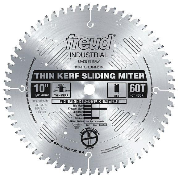 LU91M010 Freud Thin Kerf Sliding Compound Miter Saw Blade