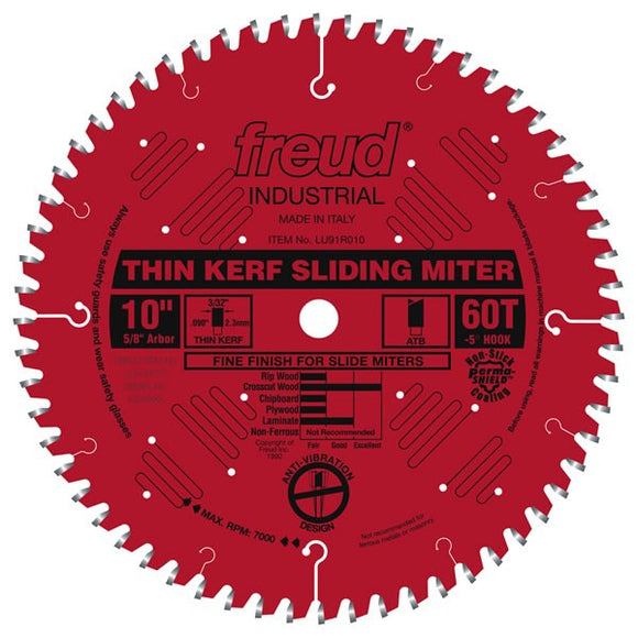 LU91R010 Freud Thin Kerf Sliding Compound Miter Saw Blade